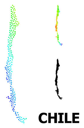 Pixel bright spectral, and solid map of Chile, and black title. Vector model is created from map of Chile with round dots. Illustration is useful for geographic templates.