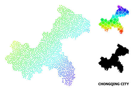 Dotted bright spectral, and monochrome map of Chongqing Municipality, and black tag. Vector model is created from map of Chongqing Municipality with round dots.