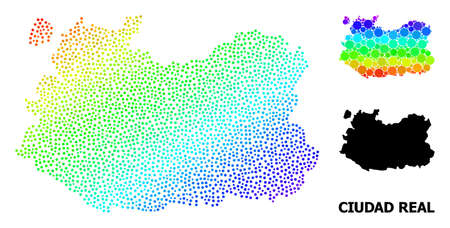 Pixel spectral, and solid map of Ciudad Real Province, and black tag. Vector model is created from map of Ciudad Real Province with round dots. Illustration is useful for geographic templates.