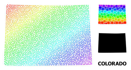 Dot rainbow gradient, and monochrome map of Colorado State, and black title. Vector model is created from map of Colorado State with circles. Abstraction is useful for geographic templates.