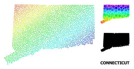 Dotted spectral, and monochrome map of Connecticut State, and black text. Vector model is created from map of Connecticut State with spheres. Abstraction is useful for geographic purposes.