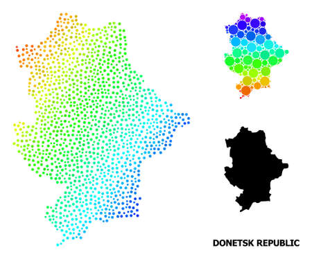 Dotted bright spectral, and solid map of Donetsk Republic, and black tag. Vector structure is created from map of Donetsk Republic with circles. Illustration is useful for political purposes.