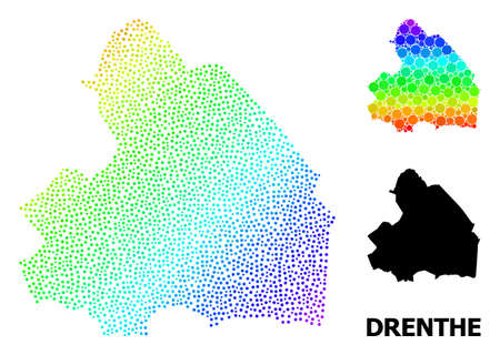 Dotted spectral, and solid map of Drenthe Province, and black title. Vector structure is created from map of Drenthe Province with circles. Abstraction is useful for geographic purposes.