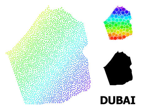 Dotted bright spectral, and monochrome map of Dubai Emirate, and black caption. Vector model is created from map of Dubai Emirate with spheres. Abstraction is useful for geographic posters. Ilustração