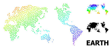 Pixelated bright spectral, and solid map of Earth, and black caption. Vector model is created from map of Earth with circles. Abstraction is useful for political aims. Bright gradiented map of Earth,