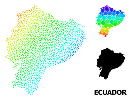 Dot bright spectral, and monochrome map of Ecuador, and black title. Vector model is created from map of Ecuador with circles. Abstraction is useful for political ads. Ilustração