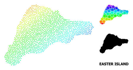 Pixel rainbow gradient, and solid map of Easter Island, and black name. Vector structure is created from map of Easter Island with circles. Abstraction is useful for geographic templates.