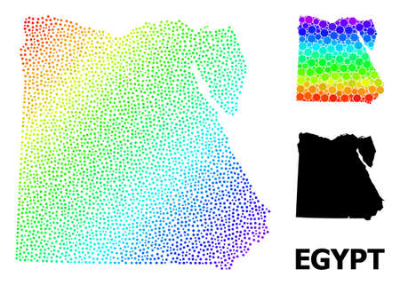 Pixel rainbow gradient, and monochrome map of Egypt, and black text. Vector structure is created from map of Egypt with spheres. Collage is useful for geographic ads. Spectrum gradiented map of Egypt,