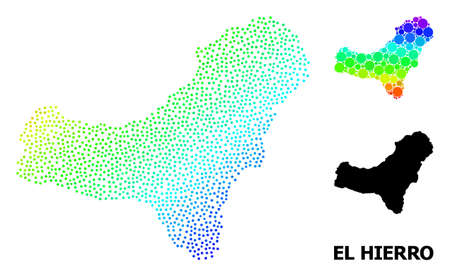 Dotted spectral, and monochrome map of El Hierro Island, and black name. Vector model is created from map of El Hierro Island with round dots. Illustration designed for political purposes.