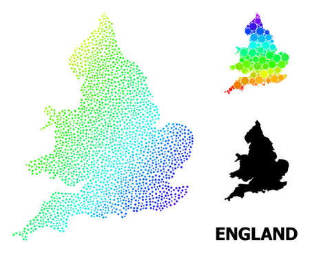 Pixelated rainbow gradient, and solid map of England, and black title. Vector structure is created from map of England with spheres. Illustration designed for geographic aims. Ilustração