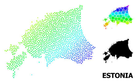 Pixelated bright spectral, and solid map of Estonia, and black text. Vector model is created from map of Estonia with circles. Abstraction is useful for political ads. Ilustração