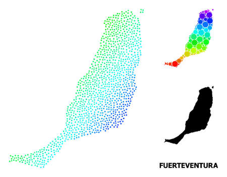Dotted bright spectral, and monochrome map of Fuerteventura Island, and black caption. Vector model is created from map of Fuerteventura Island with circles. Collage for geographic ads.