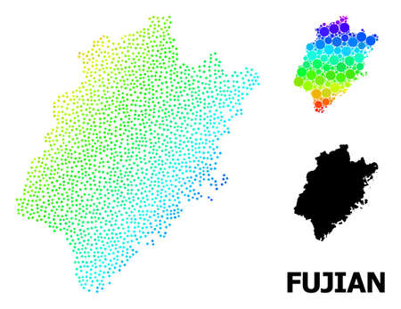Dotted spectrum, and solid map of Fujian Province, and black title. Vector model is created from map of Fujian Province with round dots. Illustration designed for geographic aims.