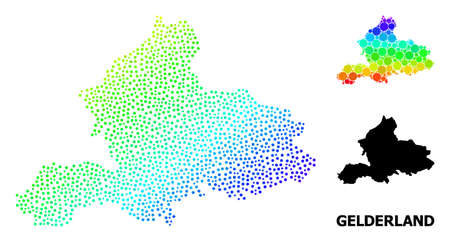 Pixel rainbow gradient, and monochrome map of Gelderland Province, and black text. Vector model is created from map of Gelderland Province with circles. Collage designed for geographic purposes.