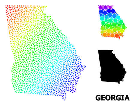 Pixel rainbow gradient, and solid map of Georgia State, and black text. Vector model is created from map of Georgia State with circles. Illustration designed for political purposes.