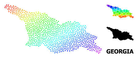 Dot spectrum, and monochrome map of Georgia, and black title. Vector structure is created from map of Georgia with circles. Template is useful for political ads. Spectrum gradiented map of Georgia, Ilustração