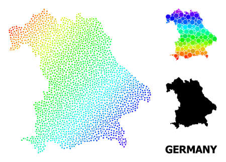 Dot spectrum, and monochrome map of Germany, and black text. Vector structure is created from map of Germany with round dots. Illustration is useful for geographic ads.