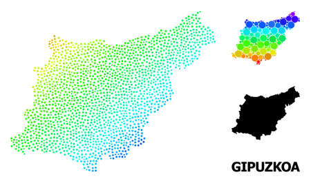 Pixel spectrum, and solid map of Gipuzkoa Province, and black name. Vector structure is created from map of Gipuzkoa Province with spheres. Abstraction is useful for political templates. Ilustração