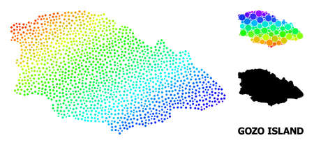 Dot rainbow gradient, and solid map of Gozo Island, and black tag. Vector structure is created from map of Gozo Island with circles. Template is useful for geographic ads.