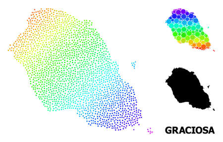 Dot spectrum, and solid map of Graciosa Island, and black text. Vector structure is created from map of Graciosa Island with circles. Illustration is useful for geographic aims.