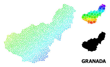 Dotted bright spectral, and monochrome map of Granada Province, and black text. Vector model is created from map of Granada Province with circles. Illustration is useful for political ads.