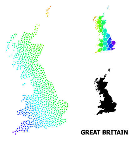 Pixelated spectrum, and monochrome map of Great Britain, and black tag. Vector structure is created from map of Great Britain with round dots. Illustration for geographic ads.