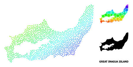 Pixelated bright spectral, and solid map of Great Inagua Island, and black text. Vector model is created from map of Great Inagua Island with round dots. Template is useful for geographic purposes.