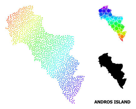Dotted spectral, and monochrome map of Greece - Andros Island, and black tag. Vector model is created from map of Greece - Andros Island with circles. Illustration is useful for political posters. Ilustração
