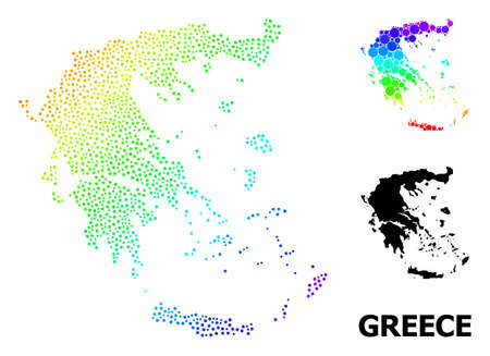 Dot bright spectral, and monochrome map of Greece, and black text. Vector structure is created from map of Greece with spheres. Template is useful for political purposes. Ilustração