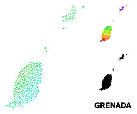 Dot spectral, and monochrome map of Grenada Islands, and black text. Vector model is created from map of Grenada Islands with round dots. Abstraction is useful for geographic posters.