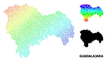 Dotted spectral, and solid map of Guadalajara Province, and black title. Vector structure is created from map of Guadalajara Province with circles. Collage is useful for geographic aims.