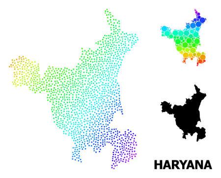 Dotted rainbow gradient, and monochrome map of Haryana State, and black name. Vector structure is created from map of Haryana State with spheres. Template is useful for political aims.