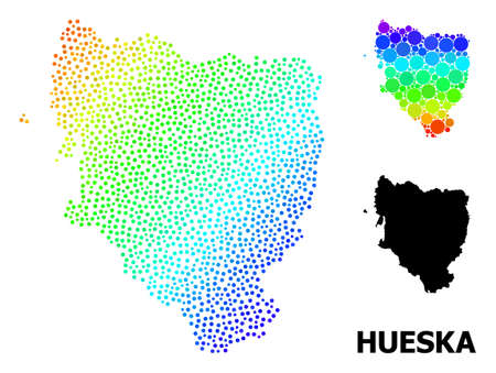 Dotted spectrum, and monochrome map of Hueska Province, and black title. Vector structure is created from map of Hueska Province with round dots. Collage is useful for geographic aims.