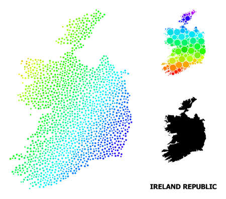 Dot bright spectral, and solid map of Ireland Republic, and black name. Vector model is created from map of Ireland Republic with spheres. Template for geographic aims. Ilustração