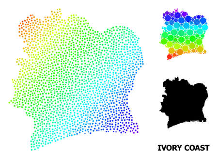 Dotted rainbow gradient, and solid map of Ivory Coast, and black caption. Vector structure is created from map of Ivory Coast with round dots. Template is useful for geographic posters. 向量圖像