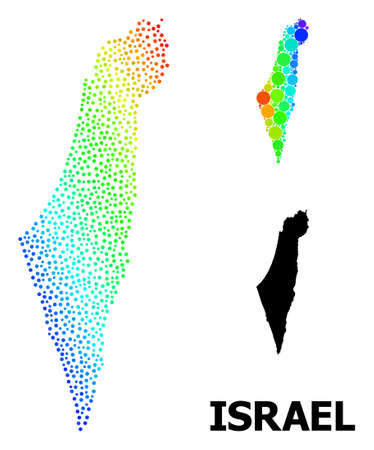 Pixel spectrum, and solid map of Israel, and black text. Vector structure is created from map of Israel with circles. Template is useful for political purposes. Bright gradiented map of Israel,