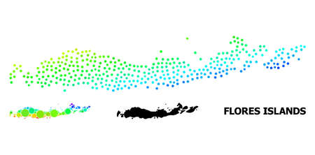Pixelated rainbow gradient, and solid map of Indonesia - Flores Islands, and black title. Vector structure is created from map of Indonesia - Flores Islands with round dots.