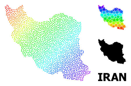 Dotted spectral, and monochrome map of Iran, and black name. Vector structure is created from map of Iran with circles. Abstraction is useful for political purposes. Spectral gradient map of Iran, Ilustração