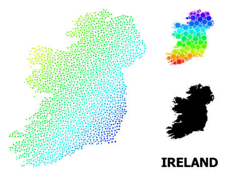 Pixel rainbow gradient, and monochrome map of Ireland Island, and black tag. Vector structure is created from map of Ireland Island with spheres. Collage is useful for political aims.