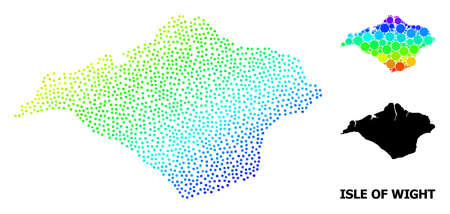 Pixelated bright spectral, and monochrome map of Isle of Wight, and black tag. Vector model is created from map of Isle of Wight with circles. Illustration is useful for geographic templates. Ilustração