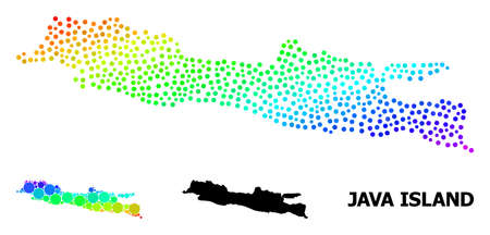 Dotted bright spectral, and solid map of Java Island, and black tag. Vector structure is created from map of Java Island with spheres. Template is useful for geographic templates.