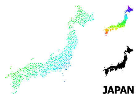 Pixel spectral, and solid map of Japan, and black text. Vector structure is created from map of Japan with round dots. Illustration is useful for geographic purposes. Bright gradient map of Japan,