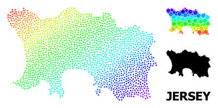 Pixel rainbow gradient, and solid map of Jersey Island, and black title. Vector model is created from map of Jersey Island with spheres. Template is useful for political templates. 向量圖像
