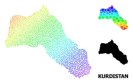 Pixelated rainbow gradient, and monochrome map of Kurdistan, and black caption. Vector model is created from map of Kurdistan with spheres. Illustration is useful for geographic templates.