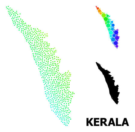 Dotted spectral, and monochrome map of Kerala State, and black title. Vector model is created from map of Kerala State with spheres. Template designed for political aims.