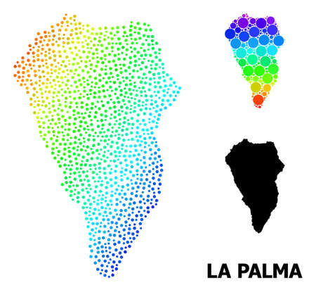Dotted bright spectral, and monochrome map of La Palma Island, and black tag. Vector model is created from map of La Palma Island with circles. Illustration is useful for political templates.