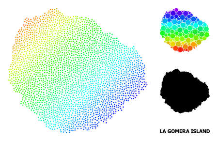 Dotted spectral, and solid map of La Gomera Island, and black name. Vector model is created from map of La Gomera Island with circles. Illustration is useful for political purposes.