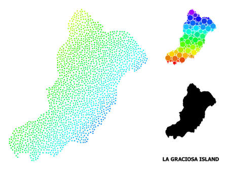 Pixel bright spectral, and solid map of La Graciosa Island, and black name. Vector structure is created from map of La Graciosa Island with circles. Collage is useful for political aims. Illustration