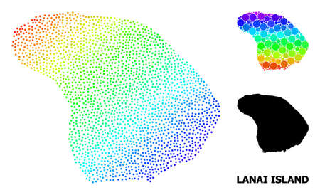 Pixelated spectral, and solid map of Lanai Island, and black title. Vector structure is created from map of Lanai Island with circles. Collage is useful for geographic ads. 向量圖像