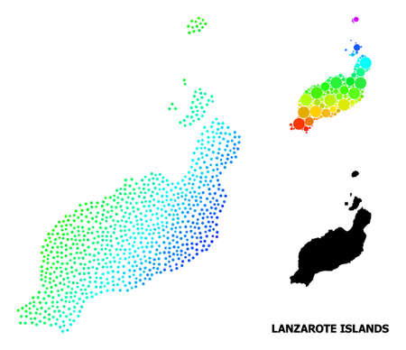 Dotted bright spectral, and monochrome map of Lanzarote Islands, and black text. Vector model is created from map of Lanzarote Islands with spheres. Illustration is useful for political purposes.